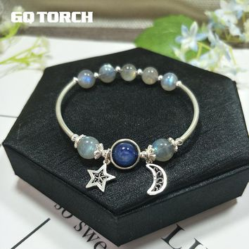 GQTORCH Natural Blue Moonstone Bracelets For Women Real 925 Sterling Silver Jewelry Strawberry Crystal Rose Quartz Hand String