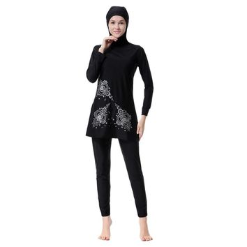 Plus Size Floral Print Islamic Swimwear Women Girls Muslim Sets Swimwear Full Cover Modest Islamic Swimming Suits Burkinis