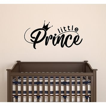 Vinyl Wall Decal Crown Little Prince Logo Words Room Decor Stickers Mural 22.5 in x 11 in gz182