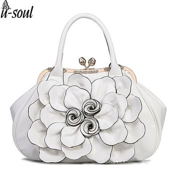Fashion Women Frame Bag With Rose Flower Hasp Vintage Women Handbag Tote  With Diamond Leahter Shoulder bc54a43e935a