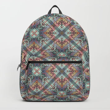 Mosaic Tiled Fine Line Abstract #HomeDecor Backpacks by Sheila Wenzel