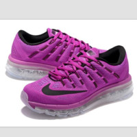 """NIKE"" Trending Air Max Toe Cap hook section knited Fashion Casual Sports Shoes roses black hook (transparent soles)"