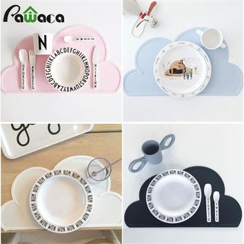 Children Baby Waterproof Silicone Kids Cloud Placemat Tableware Dining Food Mats Plate Mat Dish Kitchen Insulation Pad Table