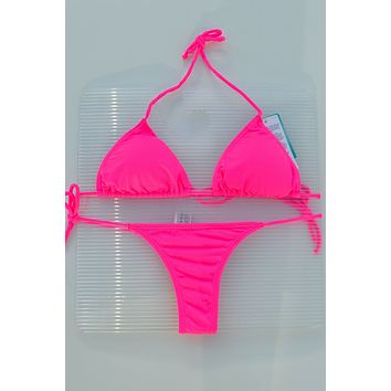 Hot Pink 3 Piece Set Triangle Top, Side Tie Thong & Side Tie Scrunch Bottom Bikini Swimsuit (Many colors available)