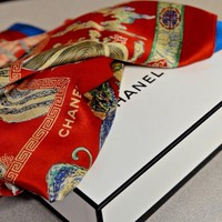 Chanel Silk Wool Scarf Wrap Shawl Oversized Asian Motif Reversible Red Blue Box
