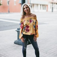 Off The Shoulder Mustard Must-Have Top