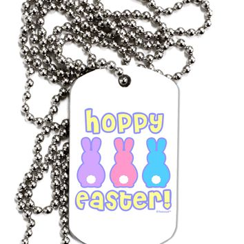 Three Easter Bunnies - Hoppy Easter Adult Dog Tag Chain Necklace by TooLoud