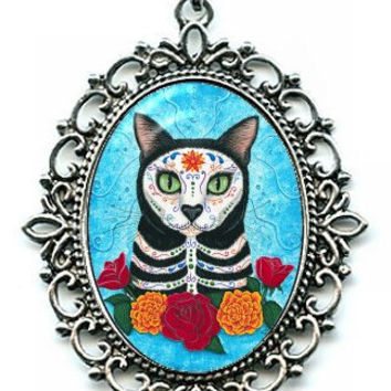 Day of the Dead Cat Necklace Gothic Mexican Sugar Skull Cat Art Cameo Pendant 40x30mm Gift for Cat Lovers Jewelry