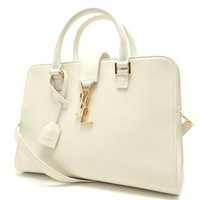 Saint Laurent YSL Women's White Cabas Satchel Handbag 472469