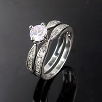 Set Of two ring With White CZ Solitaire Sterling Silver ring For Wedding