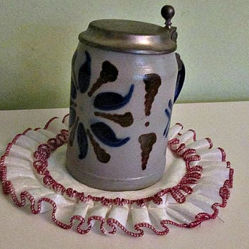 Vintage Marzi & Remy German Stoneware, Ceramic German Beer Stein, Mug with Lid, German Pottery, Colectible