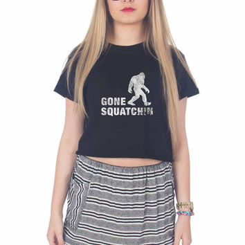 Big Foot Gone Squatchin White For Womens Crop Shirt ***