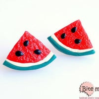 Watermelons Slices 1/4 Stud Earrings, Summer Earrings, Watermelon Studs, Polymer Clay Food, Fruit Earrings, Foodie gift, Faux Food Earrings