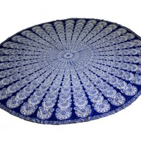 Blue and White Boho Mandala Roundie Beach Throw Tapestry