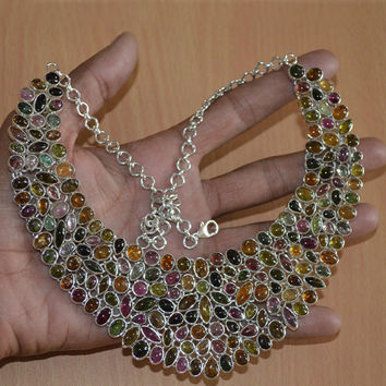 """Tourmaline necklace,Colorful necklace Big Multi tourmaline necklace Tourmaline choker Gemstone jewelry,Multicolor necklace 20"""" to 21"""" Inch"""