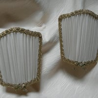 Pair of Venetian Pleated Silk Chiffon Wall Sconce Clip on Shield Shades Mini Lampshades - Handmade in Italy
