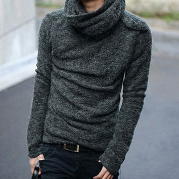 Deep Gray Cowl Neck Long Sleeves Sweater