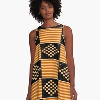 'KENTE PATTERN 11' A-Line Dress by planetterra