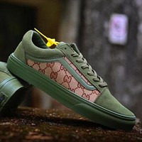GUCCI x Vans Popular New Women Men Casual Canvas Flat Sport Shoe Army Green Skateboard Sneaker I-CSXY