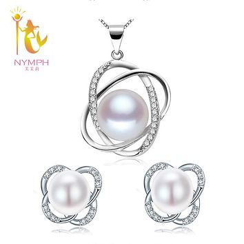 [NYMPH] Pearl Jewelry Set Natural FreshWater Pearl Necklace Pendant Earrings Fine Trendy Wedding Party Gift Girl Women ST12