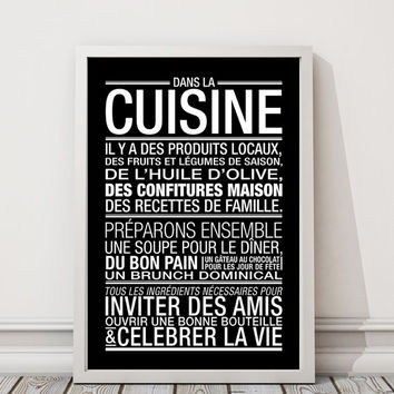 Black Print Typographic Art Kitchen Decor 70x100, 50x70, A4