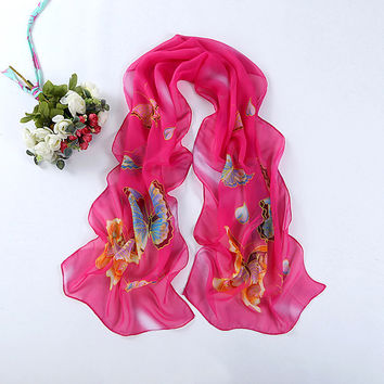 New Design Women Fashion Butterfly Print Silk Chiffon Scarf Summer Beach Wrap Hijab Long Shawl 50*160cm