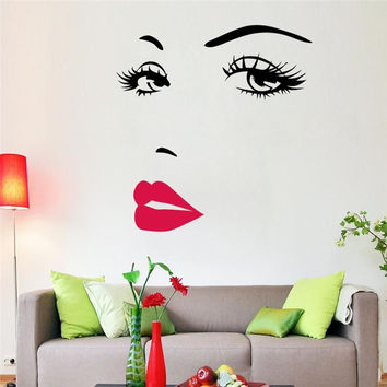 Large Sexy Girl Lip Eye Wall Decals