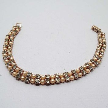 Kramer Faux Pearl Vintage Rhinestone Bracelet, Light Yellow and Golden Off White, Mid Century 1950s 50s