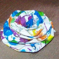 Paint splashed swirl shaped duct tape rose flower clip