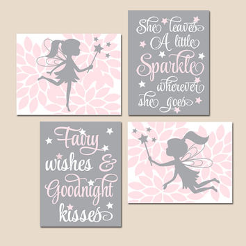 FAIRY Wall Art - Baby Girl Nursery Decor-Fairies Artwork-She Leaves a Little Sparkle-Fairy Wishes Goodnight Kisses-CANVAS or Prints-Set of 4