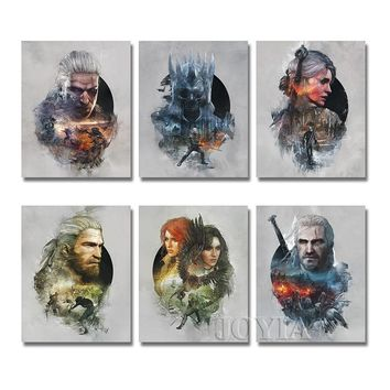 Witcher Abstract Wall Art The WITCHER 3 WILD HUNT Posters Prints RPG Game Characters Poster Decor Pictures 40x50CM/16x20 Inch