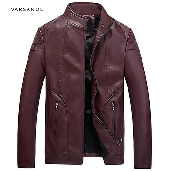 Men Bomber Leather Jackets Male Long Sleeve Winter Thick Pocket Outerwear Zipper Clothing
