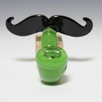 Glass Mustache Pipe - Sherlock -Hedcraft Glassworks-