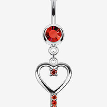 316L Surgical Steel Heart Key with CZ Navel Ring - 14GA Red