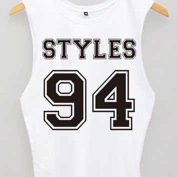 Styles 94 One Direction Tank Top / Sleveless T Shirt / Harry styles Short Sleeve Girl Woman Clothing Size M / L