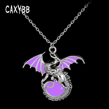 Caxybb Purple Dragon Throne Game Punk Luminous Dragon Pendants and Necklaces glow in the Dark Gift Amulet Ant Chain Sweater