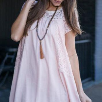 Casual Lace Patchwork Loose A Line Dress