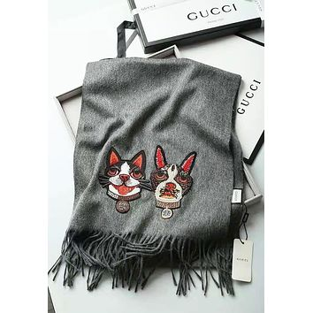 GUCCI Autumn And Winter New Fashion Embroidery Two Dog Warm Tassel Women Scarf Gray