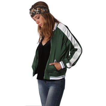 Contrast Stripe Green Bomber Jacket