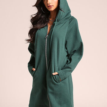 Hunter Green Hooded Zip Up Tunic Sweater