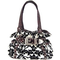 Belted Rhinestone Buckle Velvet Coated Damask Print Purse Black White Red