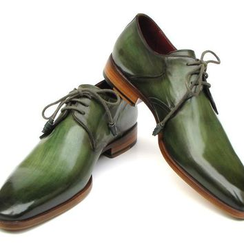 Green Hand-Painted Derby Shoes Leather Upper and Leather Sole