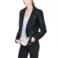 Black Biker Jacket - US$49.95
