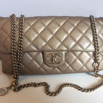 Authentic Chanel crown jumbo flap bag in metallic bronze gold with aged gold hw