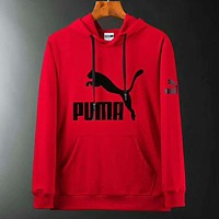 PUMA New fashion bust print couple hooded long sleeve sweater Red