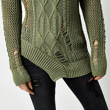 Khaki cable knit laddered cut out hem jumper - jumpers - knitwear - women