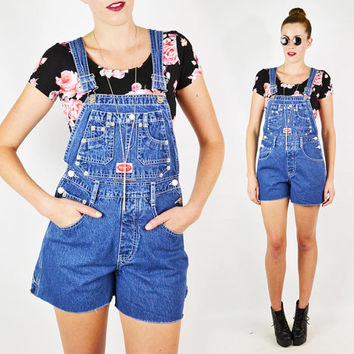 vintage 90s blue DARK DENIM OVERALL shorts / 90s overall jean shorts / denim shortalls / 90s overall shorts / 90s grunge overall shorts / s
