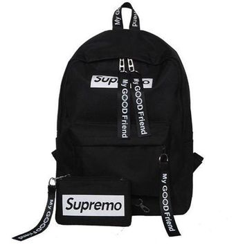 DCCKNQ2 Supreme Canvas Casual Sport School Shoulder Bag Satchel Laptop Bookbag Backpack Clutch Bag Wristlet Purse Two-Piece-1