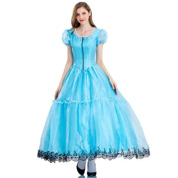 Halloween Princess Costumes Womens Adult Alice in Wonderland Costume Suit Carnival Fancy Blue Dress Cosplay Costume for Girl