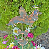 Long Hair Dachshund Dog Pet Memorial Garden Stake / Metal Garden Art / Yard Art / Copper Art / Dog Sculpture / Dog Memorial Angel Statue